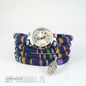 zegarki zegarek, bransoletka - granatowy, boho piórko, bransoletka