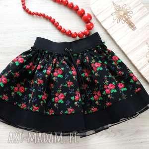 handmade ubranka spódniczka folkowa cleo góralska 1 -3 lata - drobne kwiaty