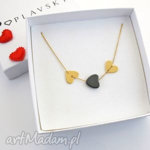 poplavsky naszyjnik heart serce srebro pozŁacane - naszyjnik, srebro, złoto, serce
