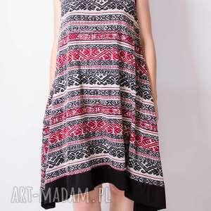 sukienki wełniana sukienka z nadrukiem, aztec, folk, wełniana, wzorek, boho, paski