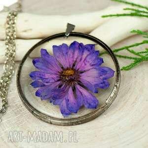 naszyjniki naszyjnik z kwiatów w cynowej ramce z418, biżuteria żywicy
