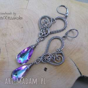 Kolczyki Swarovski Crystal Vitrail Light, wire wrapping, kolczyki, serce, swarovski