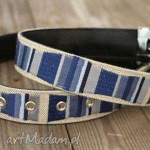 stripes pasek haftowany na lnie niebieski,szary, jeans - pasek, skóra, len, haft