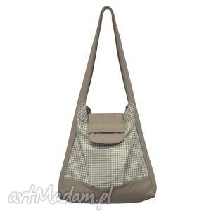 torebki 01-0005 biało-szara torba worek na zakupy humming-bird maxi, duże