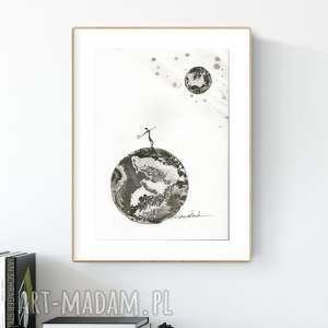 Grafika a4 malowana ręcznie, minimalizm, abstrakcja czarno-biała