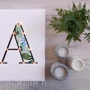 Prezent ŚWIECĄCA litera MONSTERA obraz prezent dekoracja lampka led tropikalny styl