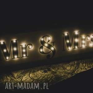 Prezent ŚWIECĄCY NAPIS MR lubny oświetlenie sali weselnej , dekoracja, prezent