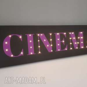Świecący napis CINEMA film kino prezent dla niego fana kina dekoracja lampka