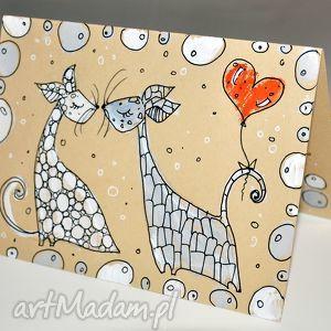 ręcznie wykonane scrapbooking kartki walentynki koty 2