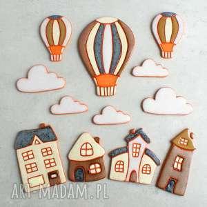magnesy zestaw magnesów ceramicznych, balon, domek, chmurka, magnesy, kuchnia