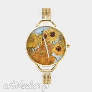 Zegarek z grafiką SŁONECZNIKI, sztuka, reprodukcja, obraz, vincent, van, gogh