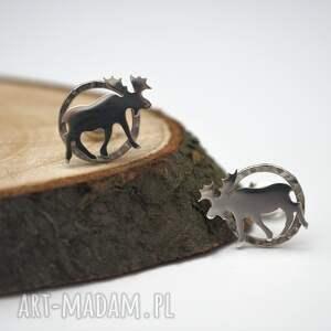 Srebrne kolczyki łosie jachyra jewellery srebro, kolczyki, łosie