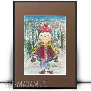 chłopczyk obrazek, rysunek z cchłopczykem, obrazek do dziecięcego pokoju