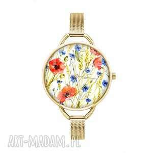 zegarki zegarek z grafiką pole kwiatów, łąka, folklor, ludowy, oryginalny
