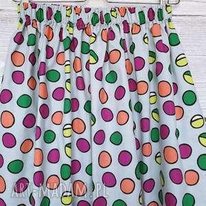 Kolorowe grochy wyprzedaż xs-s do 50cm długa spódnice du nord