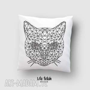 poduszka z kotem outline, poduszka, poszewka, dom, wnętrze, kot, kotek