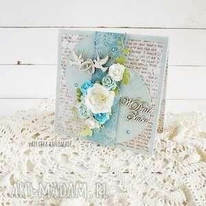 w dniu ślubu kartka w pudełku 659 - białe scrapbooking, wesele