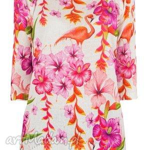 feltrisimi letni sweterek s/m,l/xl, sweter, drukowany, printy, liście, flamingi
