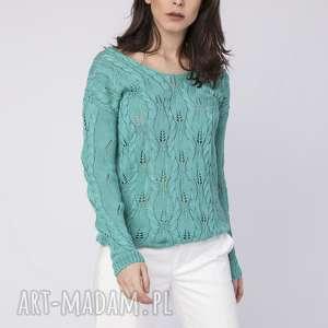 swetry ażurowy sweterek, swe145 zielony mkm, dekolt, plecy, odsłąnięte, dzianina