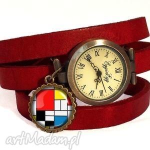 mondrian - zegarek bransoletka na skórzanym pasku - rękę