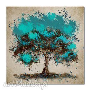 duże drzewo turkusowe - d1 -80x80cm obraz na płótnie, obraz, na, płótnie
