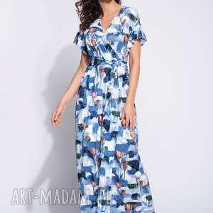 Długa sukienka letnia w kwiaty, maxi, długa, wzorzysta, z-falbankami