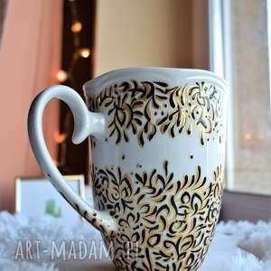ciepliki kubek ręcznie malowany złoto i czerń, dla mamy, kobiety, niej