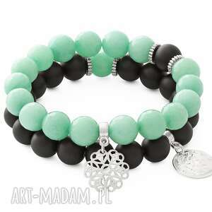 light green jade blackstone with pendants, jadeit, blackstone, kwiatek