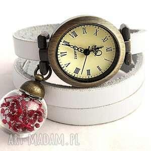 romantyczna czerwień - zegarek bransoletka na skórzanym, szuszone