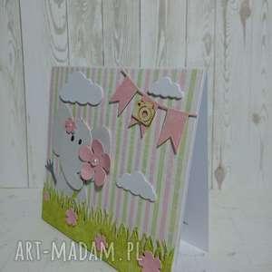 zaproszenie kartka słonik na łączce - sesja, urodziny, chrzest, roczek