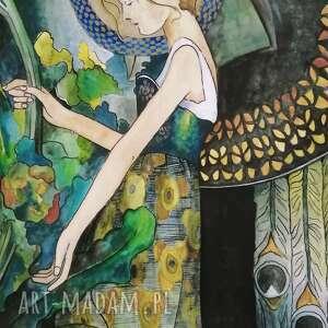 obraz anioł w ogrodzie - wydruk, anioł, ogrodzie, secesja, akwarela