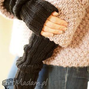 czarne rękawki - płaszcz, mitenki alpaka dziergane, na drutach