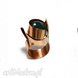 hand-made pierścionki niepowtarzalny pierścionek z brązu z agatem