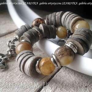 jesienny przekładaniec bransoletka z szarej muszli, bursztynu i srebra