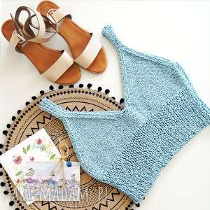 świąteczny prezent, krótki top niebieski, top, bawełniany, ramiaczka