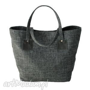 37-0010 szaro-biała torebka shopper bag 3w1 ekologiczna torba na zakupy owl, modne