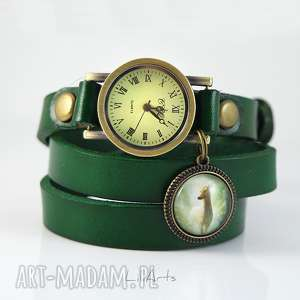 zegarki bransoletka, zegarek - sarna ciemno zielony, skóra, zegarek, bransoletka
