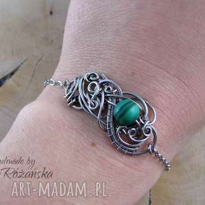 Bransoletka malachit, wire wrapping, stal chirurgiczna, bransoletka, wire-wrapping