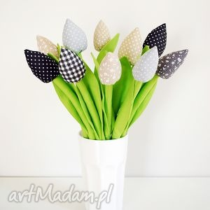 bukiet bawełnianych tulipanów - tulipany, kwiaty, dekoracje, szyte, kwiatki