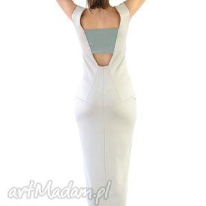 kolumna - sukienka, biała, wieczorowa, suknia, długa, oryginalna, święta