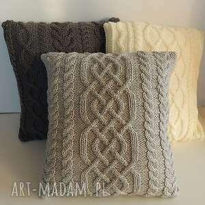 poduszki szara warkoczowa poduszka, handmade, miękka, unikatowa