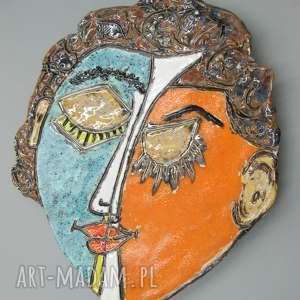 ceramika patera twarz kubistyczna, patera, wnętrze, prezent, dekoracja, stół