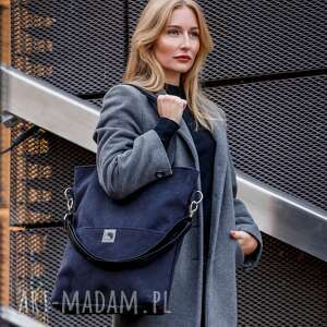 czarna torba z zamszu ekologicznego, wodoodporna, duża, torebka kieszeniami