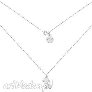 srebrny naszyjnik z kotekiem - minimalistyczny, zawieszka, modny