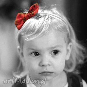 GIGGI Opaska LADY z kokardką - czerwony góralski