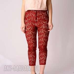 spodnie czerwone koronkowe 7/8, koronkowe, gipiurowe, sexy, obcisłe