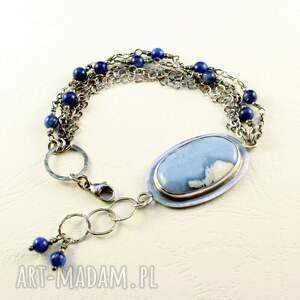 opal i senne obłoki, bransoletka, niebieski, kyanit, łańcuszki, łańcuszek