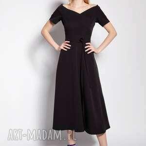 sukienka trapezowa midi, suk181 czarny, na wesele, imprezę, elegancka, midi