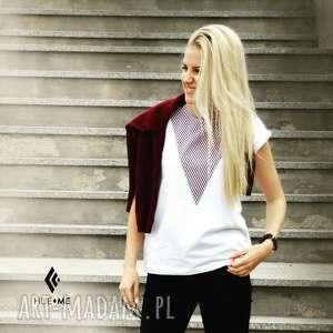 t-shirt - koszulka lonely shape red wine, biała, koszulka, t-shirt, bawełna, trójkąty