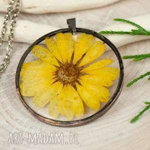 naszyjnik z suszonymi kwiatami w cynowej oprawie z338 - zatopione kwiaty, biżuteria z